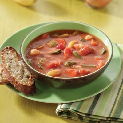 Tomato Soup with Garden Vegetables