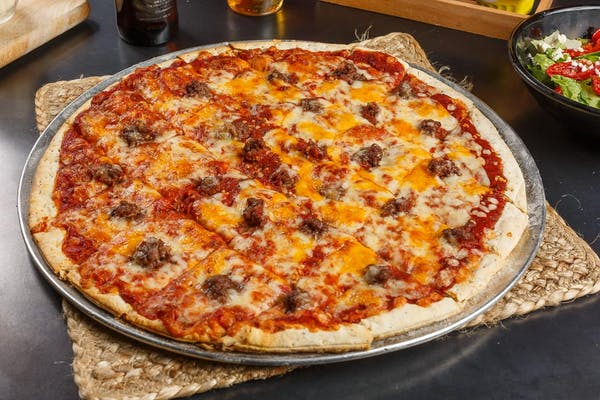 Three Cheese, Beef & Garlic Pizza