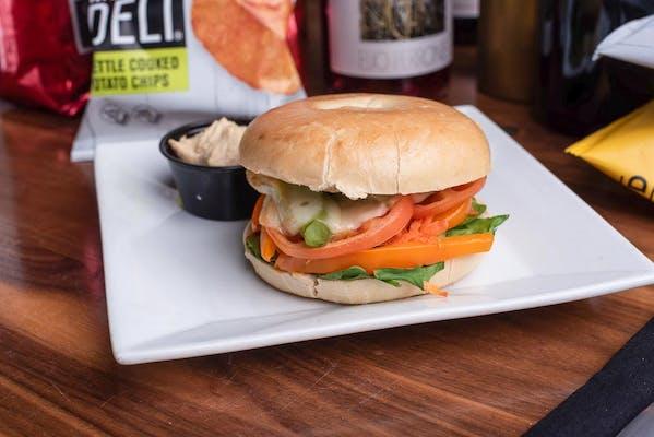 Oven-Baked Veggie Bagel Sandwich