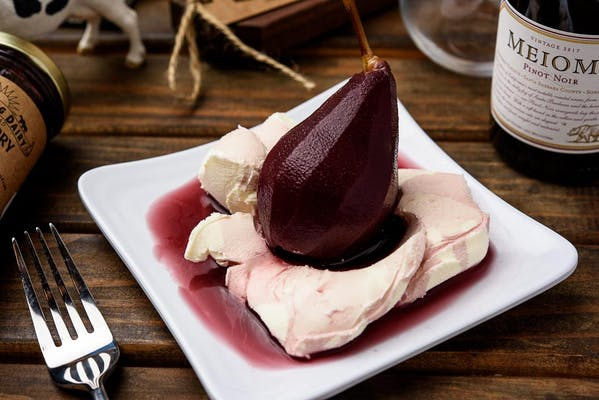 Poached Pear & Mascarpone Cheese