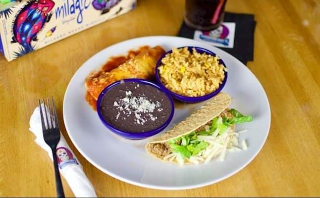 1. Lunch Beef Taco & Chicken Enchilada