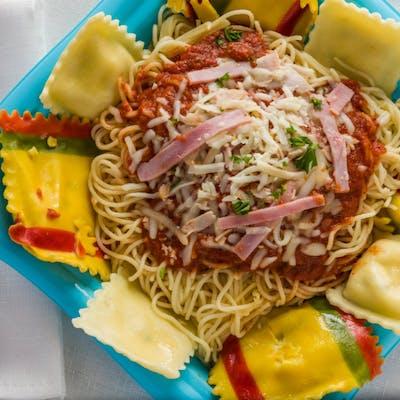 Ravioli, Spaghetti & Meat Sauce