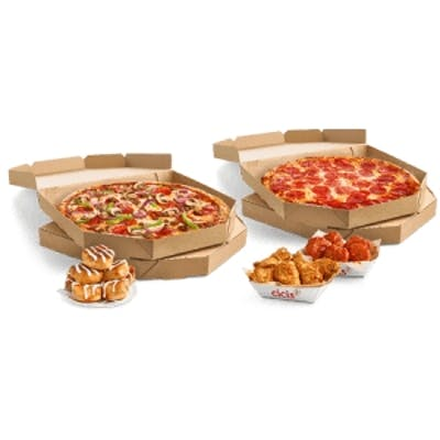 #9 Six Large One-Topping Pizzas, Wings & Side