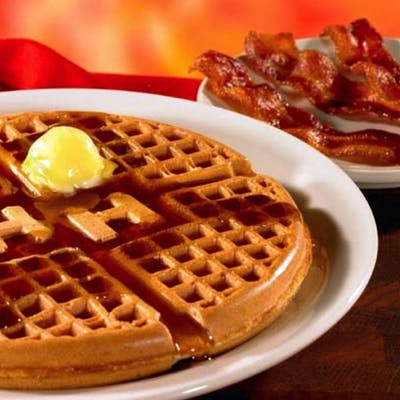 Golden Waffle with Meat