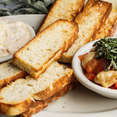 Combination of Hummus & Bruschetta Pomodoro