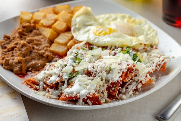 Chilaquiles in Red Sauce