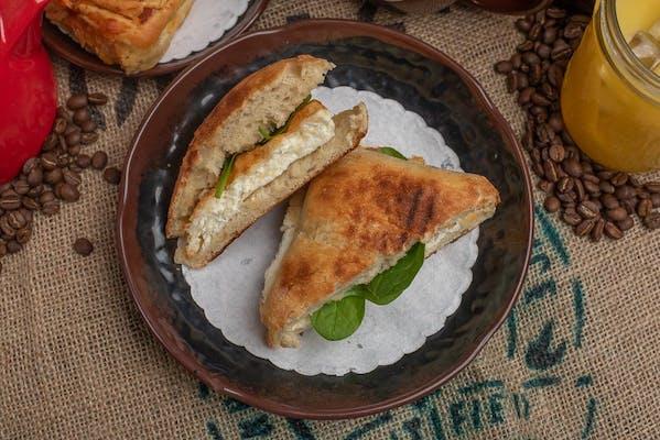 Spinach Egg White Asiago Breakfast Sandwich
