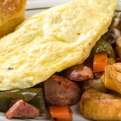 Cajun-Smoked Sausage Omelet