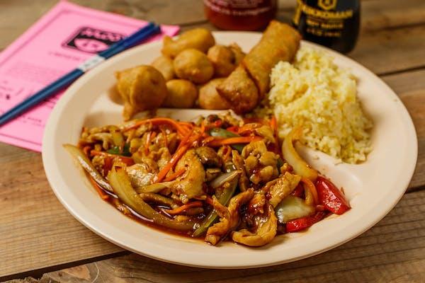 C13. Spicy Chicken & Sweet & Sour Pork