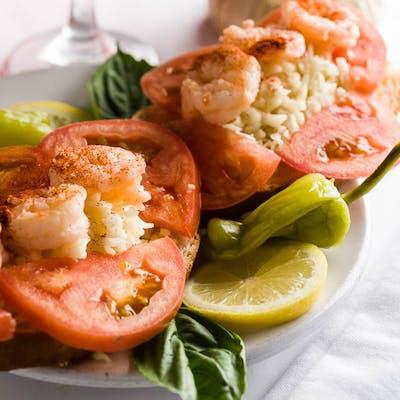 Cajun Tomato Shrimp Cheese Toast