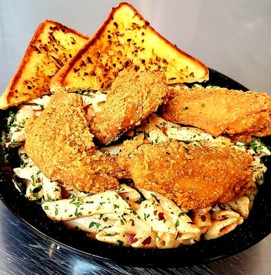 Crispy Fried Chicken Alfredo Bowl