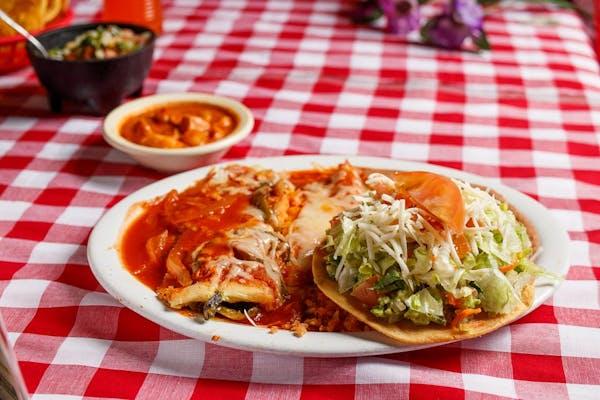 #10 Avocado, Tostada, Chile Relleno & Enchilada