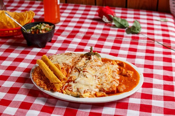 #12 Beef Flautas, Chile Relleno & Enchilada