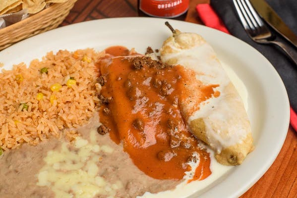 8. (1) Enchilada, (1) Tamale, Rice & Fried Beans