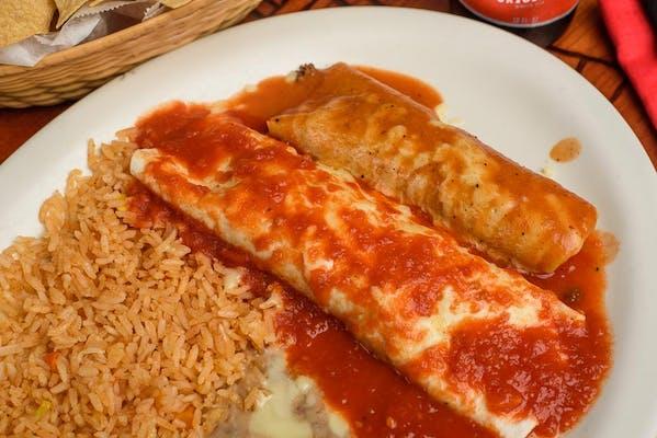 26. (1) Burrito, (1) Enchilada, Rice & Beans