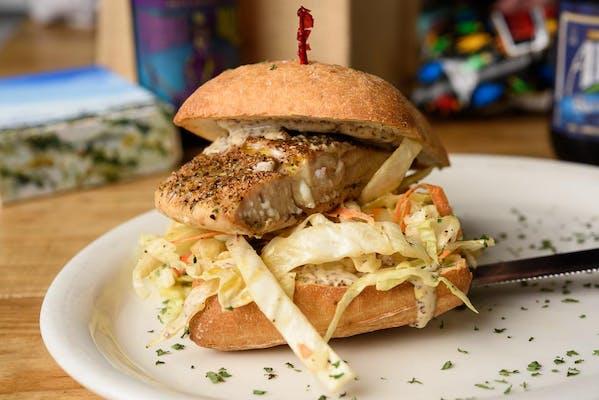 Cajun Salmon & Coleslaw Sandwich