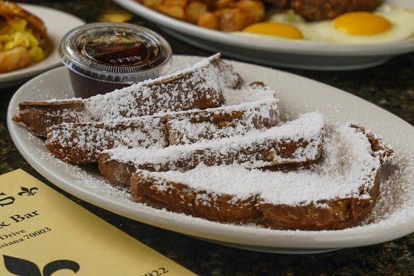 Brioche French Toast with Powdered Sugar & Syrup
