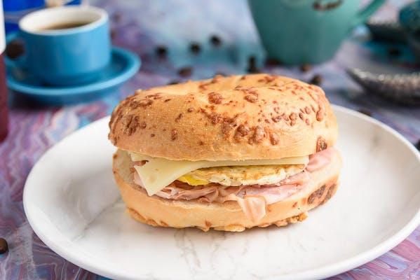 Asiago Breakfast Bagel Sandwich