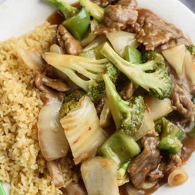 A6. Hunan Beef Platter