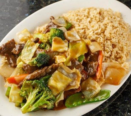 A7. Hunan Beef Platter