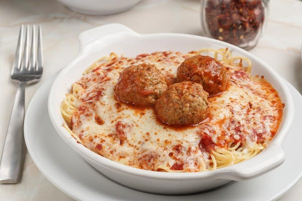 6. Baked Spaghetti with Meatballs