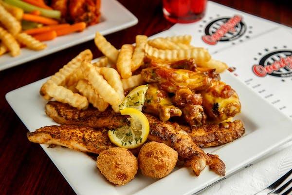 (2 pc.) Fried Fish & (6 pc.) Wings Platter
