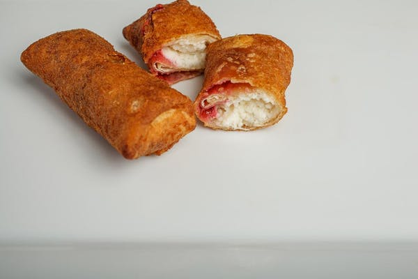 Fried Cheesecake Chimi with Raspberry