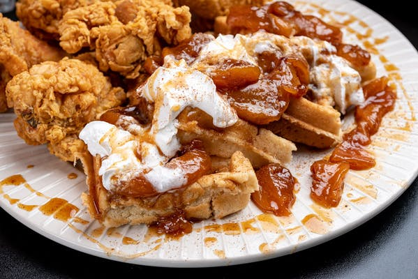 Peach Cobbler Waffles