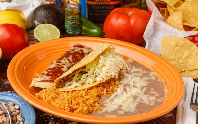 6. (1) Beef Enchilada, (1) Taco, Mexican Rice & Beans