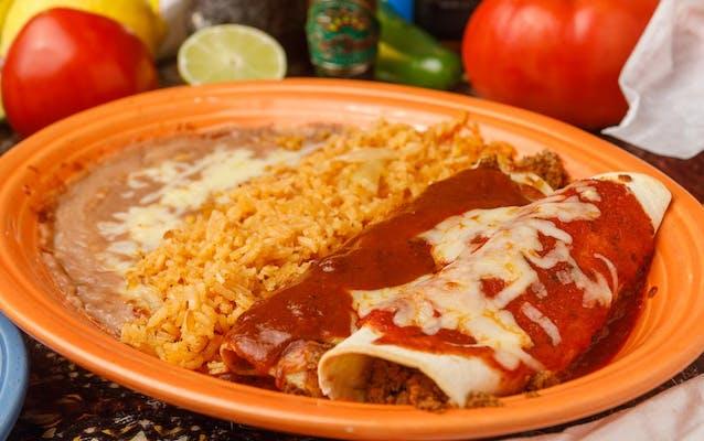 17. (1) Burrito, (1) Enchilada, Rice & Beans