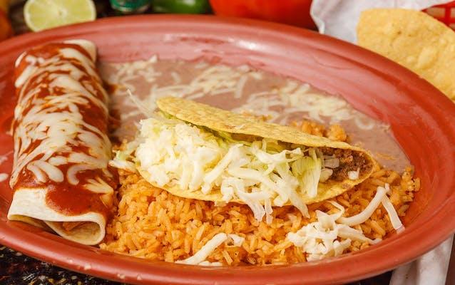 23. (1) Taco, (1) Burrito, Rice & Beans