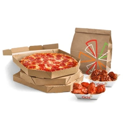 #8 Three Large Three-Topping Pizzas, Wings & Side