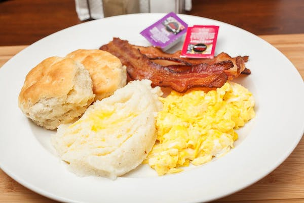Home Fries, Grits, Eggs, Bacon & Biscuit