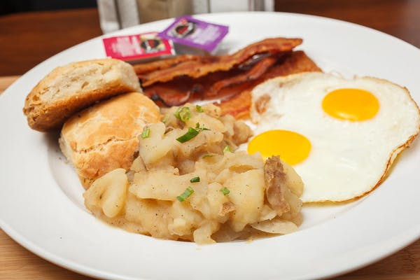 Home Fries, Grits, Eggs, Sausage & Biscuit