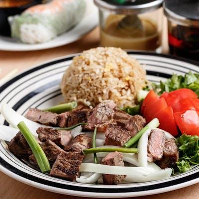 Stir-Fried Beef, Fried Rice & Salad
