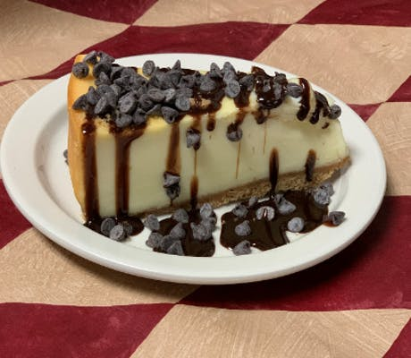 Cheesecake Drizzled with Chocolate and Mini Morsels