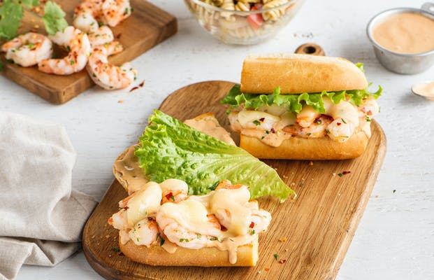 Spicy Southwest Shrimp Caesar Sandwich
