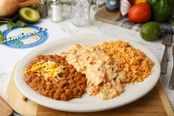 Del Mar Enchiladas with Rice & Beans