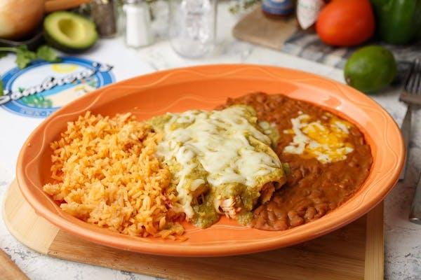 Verde Enchiladas with Rice & Beans