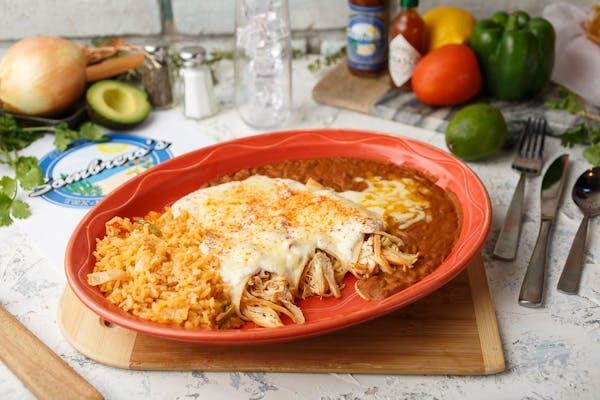 Sour Cream Enchiladas with Rice & Beans