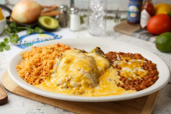 Chile Relleno with Rice & Beans