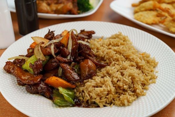 S17. Bourbon Chicken & White Rice