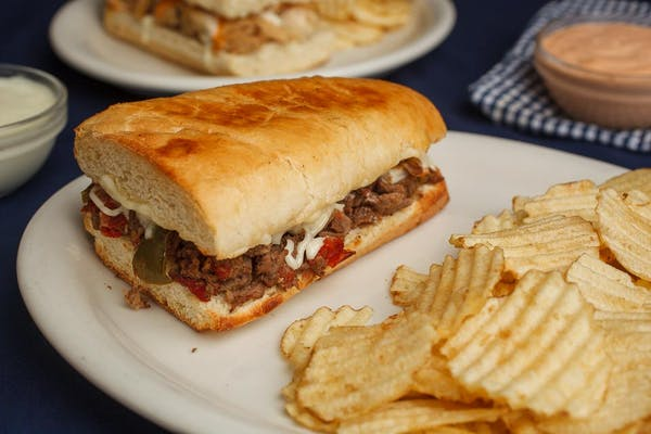 """6"""" Philly Cheesesteak Sandwich and Chips"""