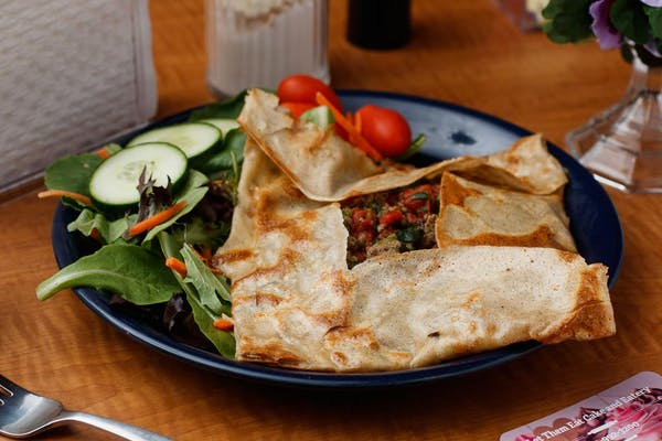 Sausage, Spinach & Tomato Crepes Meal