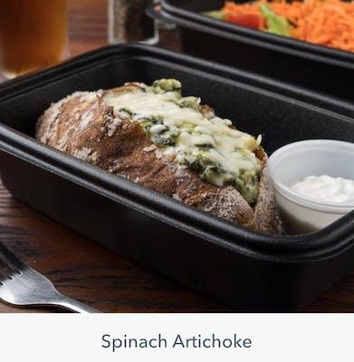 Spinach Artichoke Smoked Baked Potato