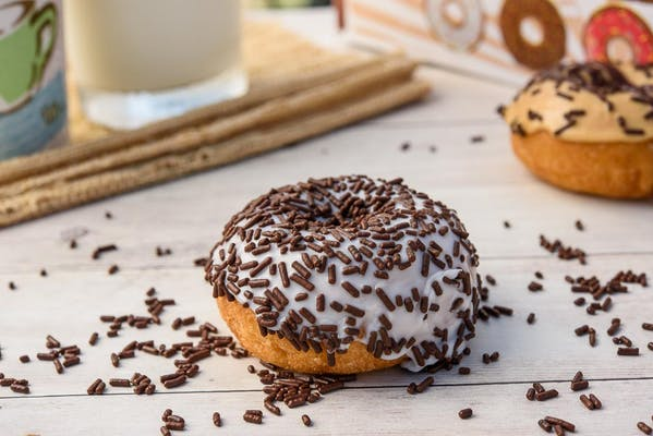 Chocolate Sprinkles with White Icing Donut