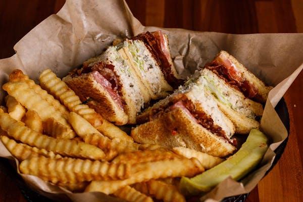 Tuna Club Sandwich & Fries