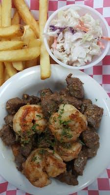 N9. Cajun Garlic Butter Steak Bites & Shrimp