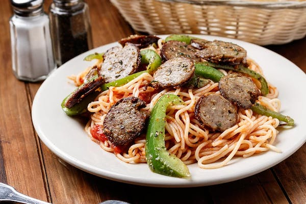 Spaghetti with Sausage & Peppers
