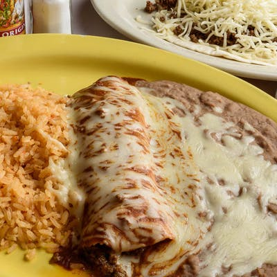 13. Beef Enchilada, Beef Taco, Rice & Beans